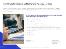 Next Steps For Website Traffic Handler Agency Services Ppt Powerpoint Presentation Guidelines