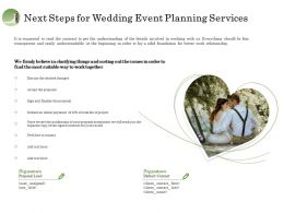 Next Steps For Wedding Event Planning Services Ppt Demonstration