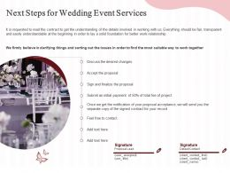 Next Steps For Wedding Event Services Ppt Powerpoint Presentation Infographic