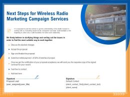 Next Steps For Wireless Radio Marketing Campaign Services Ppt Topics