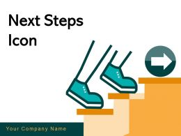Next Steps Icon Businessman Employee Proceed Achievement Stairs