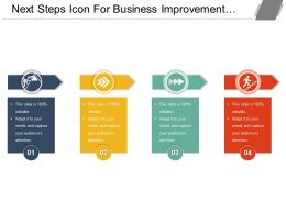 Next Steps Icon For Business Improvement With 4 Text Options
