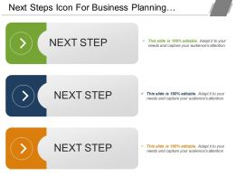 Next Steps Icon For Business Planning With Text Options