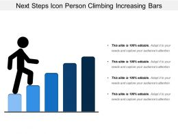 Next Steps Icon Person Climbing Increasing Bars