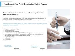 Next Steps In Non Profit Organization Project Proposal Ppt Powerpoint Portfolio