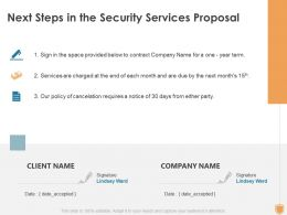 Next Steps In The Security Services Proposal Ppt Powerpoint Presentation Design Templates