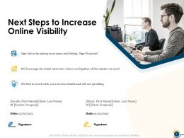 Next Steps To Increase Online Visibility Ppt Powerpoint Presentation Visual Aids Summary