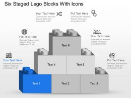 Nf Six Staged Lego Blocks With Icons Powerpoint Template Slide