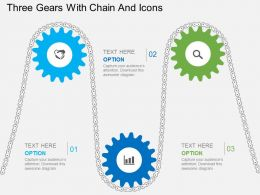 nf Three Gears With Chain And Icons Flat Powerpoint Design