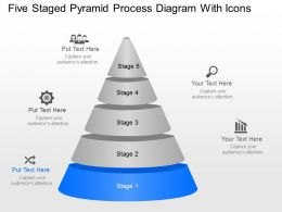 Ng Five Staged Pyramid Process Diagram With Icons Powerpoint Template