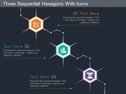 ng Three Sequential Hexagons With Icons Flat Powerpoint Design