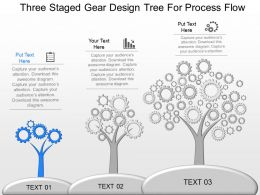 ng Three Staged Gear Design Tree For Process Flow Powerpoint Temptate