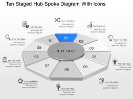Nh Ten Staged Hub Spoke Diagram With Icons Powerpoint Template Slide