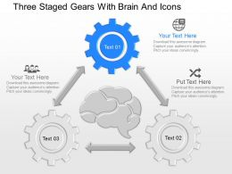 nh Three Staged Gears With Brain And Icons Powerpoint Temptate