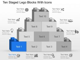 Ni Ten Staged Lego Blocks With Icons Powerpoint Template Slide