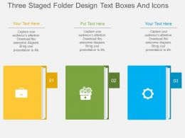 ni Three Staged Folder Design Text Boxes And Icons Flat Powerpoint Design
