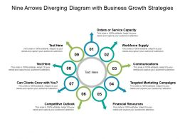 Nine Arrows Diverging Diagram With Business Growth Strategies
