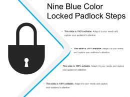 Nine Blue Color Locked Padlock Steps
