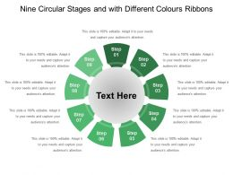 Nine Circular Stages And With Different Colours Ribbons