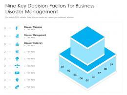 Nine Key Decision Factors For Business Disaster Management