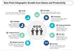 Nine Point Infographic Growth Core Values And Productivity