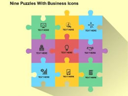 Nine Puzzles With Business Icons Flat Powerpoint Design