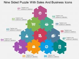 Nine Sided Puzzle With Sales And Business Icons Flat Powerpoint Design