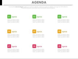 Nine Staged Business Agenda Assessment Powerpoint Slides