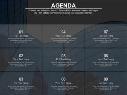 Nine Staged For Business Agenda Analysis Powerpoint Slides
