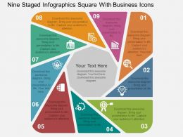 Nine Staged Infographics Square With Business Icons Flat Powerpoint Design