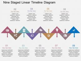Nine Staged Linear Timeline Diagram Flat Powerpoint Design