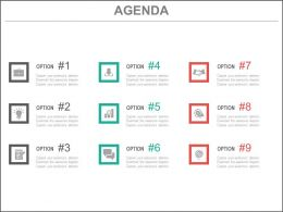Nine Staged Option Tags For Business Agenda Powerpoint Slide