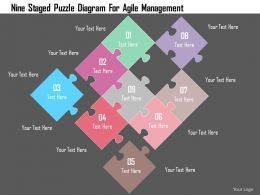 Nine Staged Puzzle Diagram For Agile Management Flat Powerpoint Design