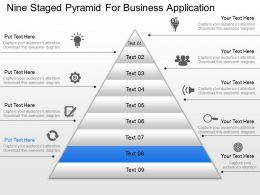 Nine Staged Pyramid For Business Application Powerpoint Template Slide