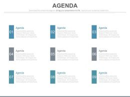 Nine Staged Sales Agenda Analysis Diagram Powerpoint Slides