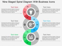 Nine Staged Spiral Diagram With Business Icons Flat Powerpoint Desgin