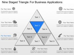 Nine Staged Triangle For Business Applications Powerpoint Template Slide
