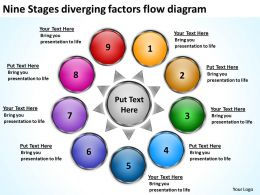 nine stages diverging factors flow diagram Processs and PowerPoint Slides