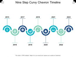 Nine Step Curvy Chevron Timeline