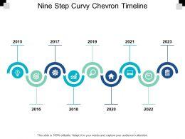 Nine Step Curvy Chevron Timeline