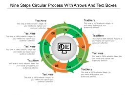 Nine Steps Circular Process With Arrows And Text Boxes