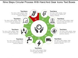 Nine Steps Circular Process With Hand And Gear Icons Text Boxes