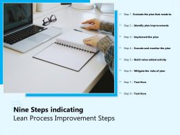 Nine Steps Indicating Lean Process Improvement Steps