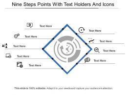 Nine Steps Points With Text Holders And Icons