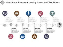 Nine Steps Process Covering Icons And Text Boxes