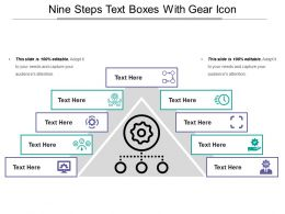 Nine Steps Text Boxes With Gear Icon