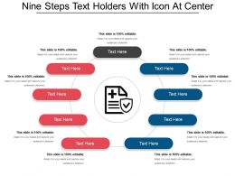 Nine Steps Text Holders With Icon At Center