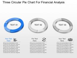 nj Three Circular Pie Chart For Financial Analysis Powerpoint Template
