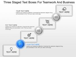 nj Three Staged Text Boxes For Teamwork And Business Powerpoint Temptate