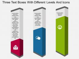 nj Three Text Boxes With Different Levels And Icons Flat Powerpoint Design